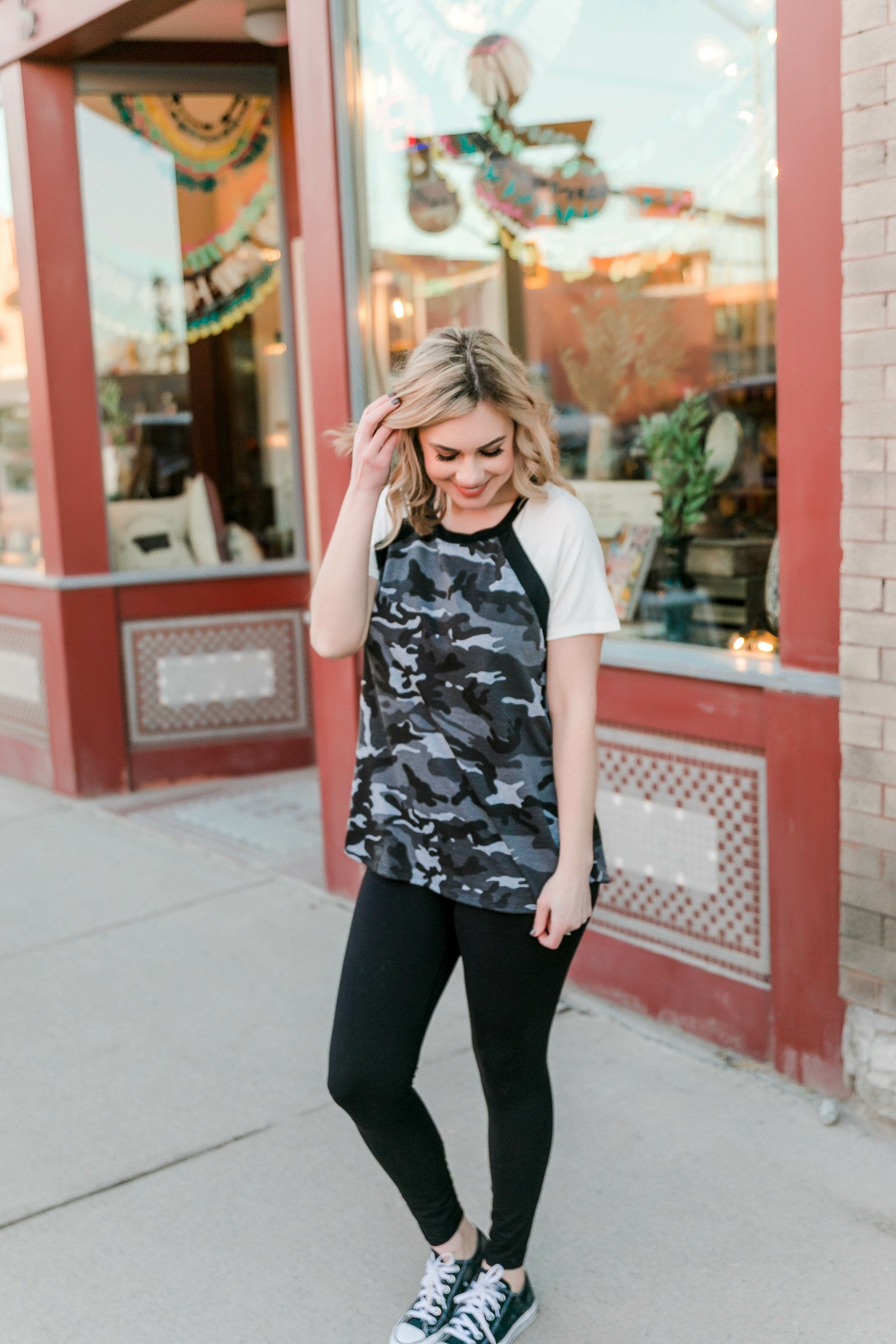 Seek And You Shall Find Charcoal Camo Top
