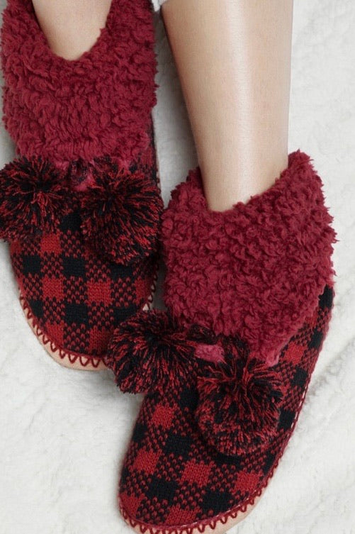 Savanna Buffalo Plaid Slippers Red