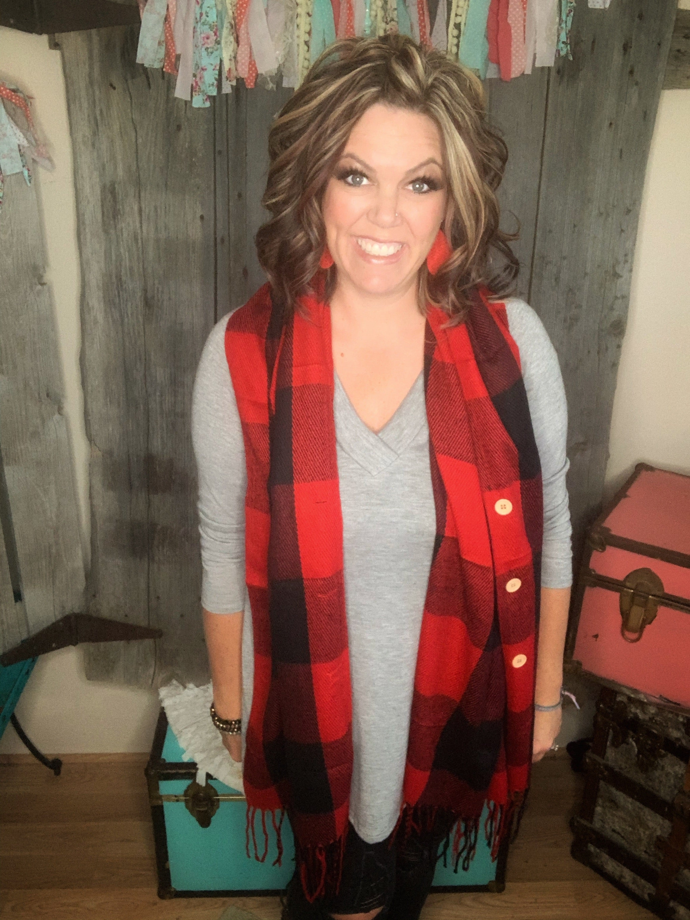 Haylen Button Sweater Buffalo Plaid Red