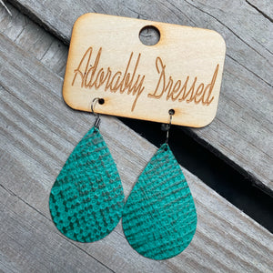 Teal Basket Weave Leather Earrings