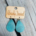 Marbled Mint Leather Earrings