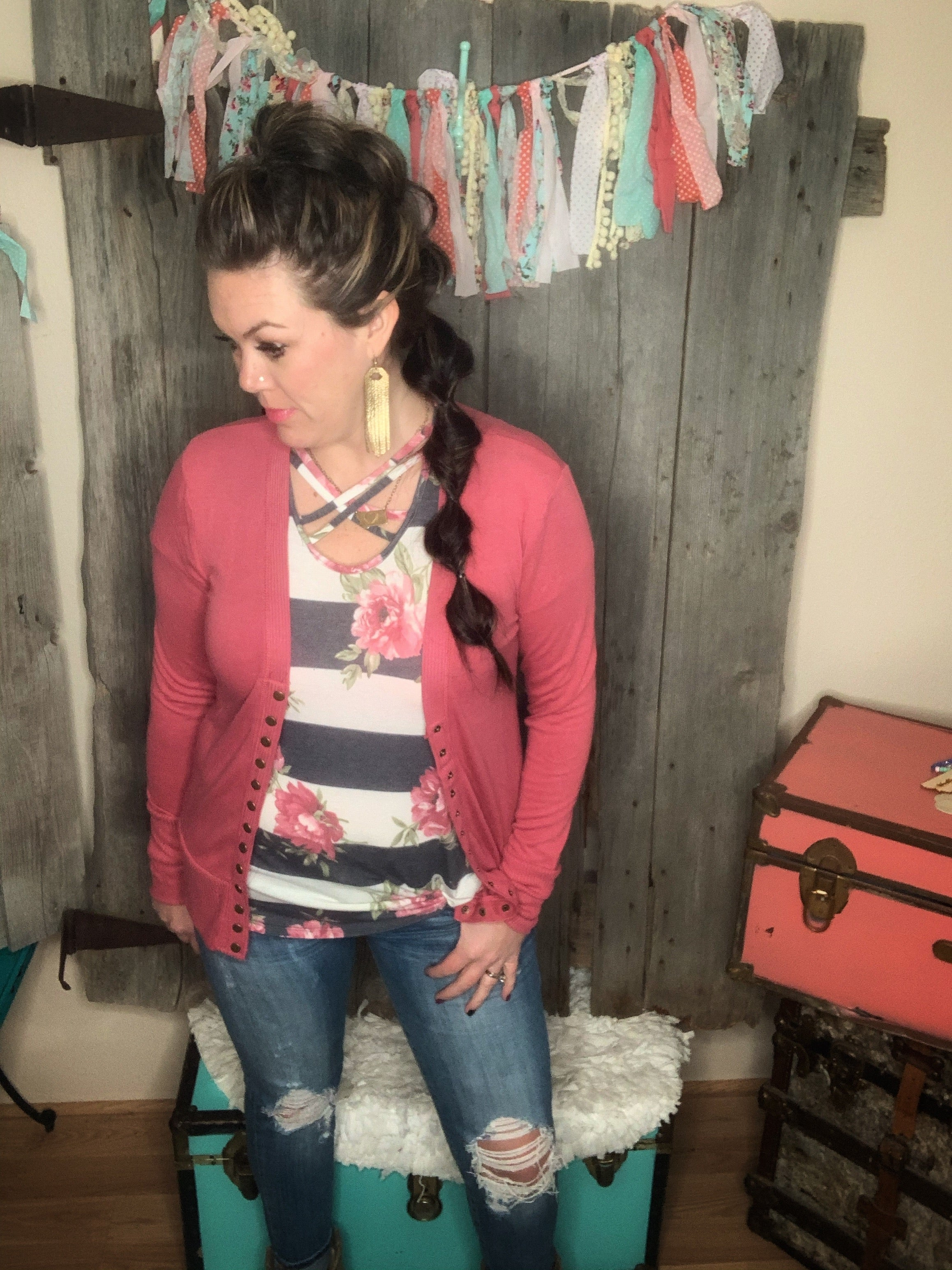Corallee Snap Cardigan Rose