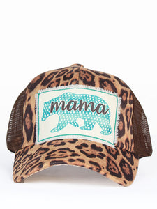Distressed Cap Mama Leopard