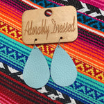 Crystal Blue Leather Earrings