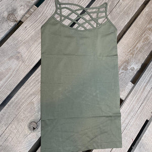 Callie Caged Cami Light Olive