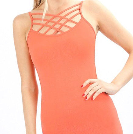 Callie Caged Cami Coral