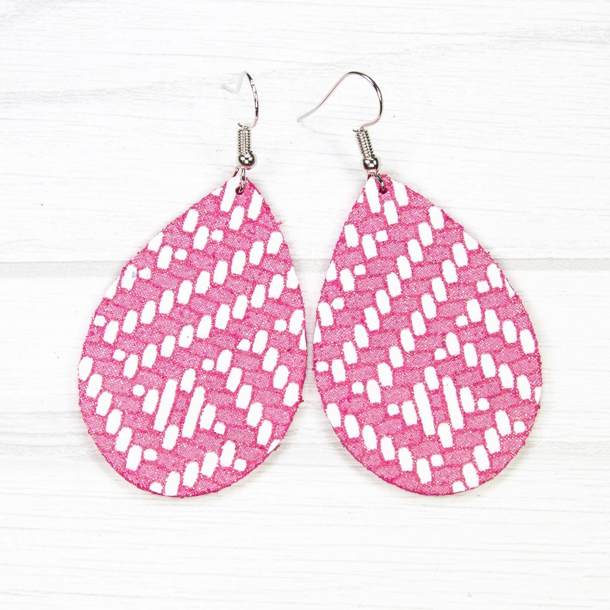 Pink Chevron Leather Earrings