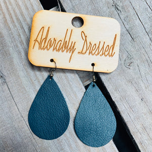 Dark Teal Leather Earrings