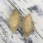 Leather Feather Earrings Metallic Gold