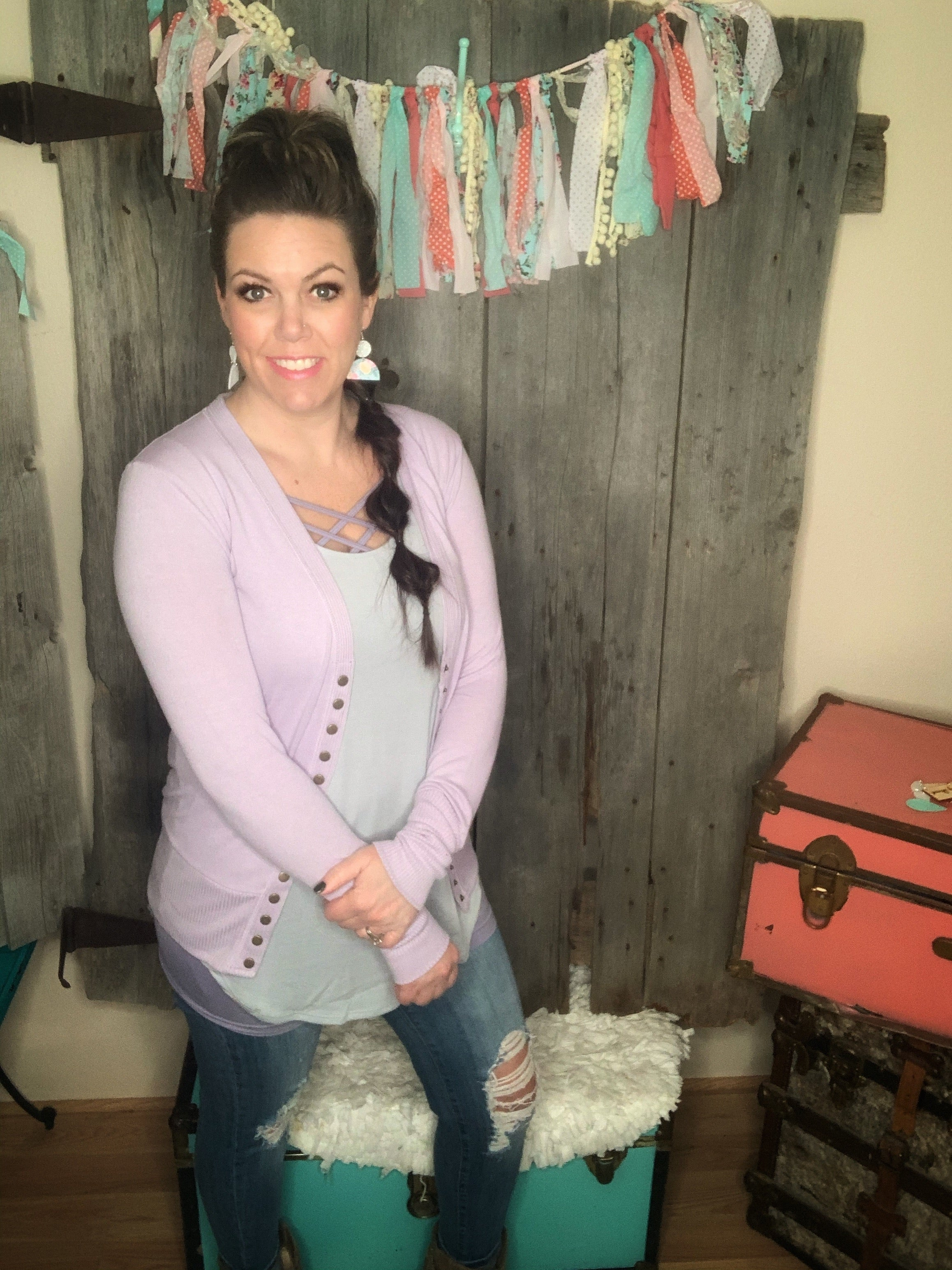 Corallee Snap Cardigan Dusty Lavender