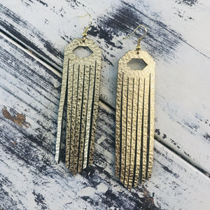 Leather Fringe Earrings Metallic Gold