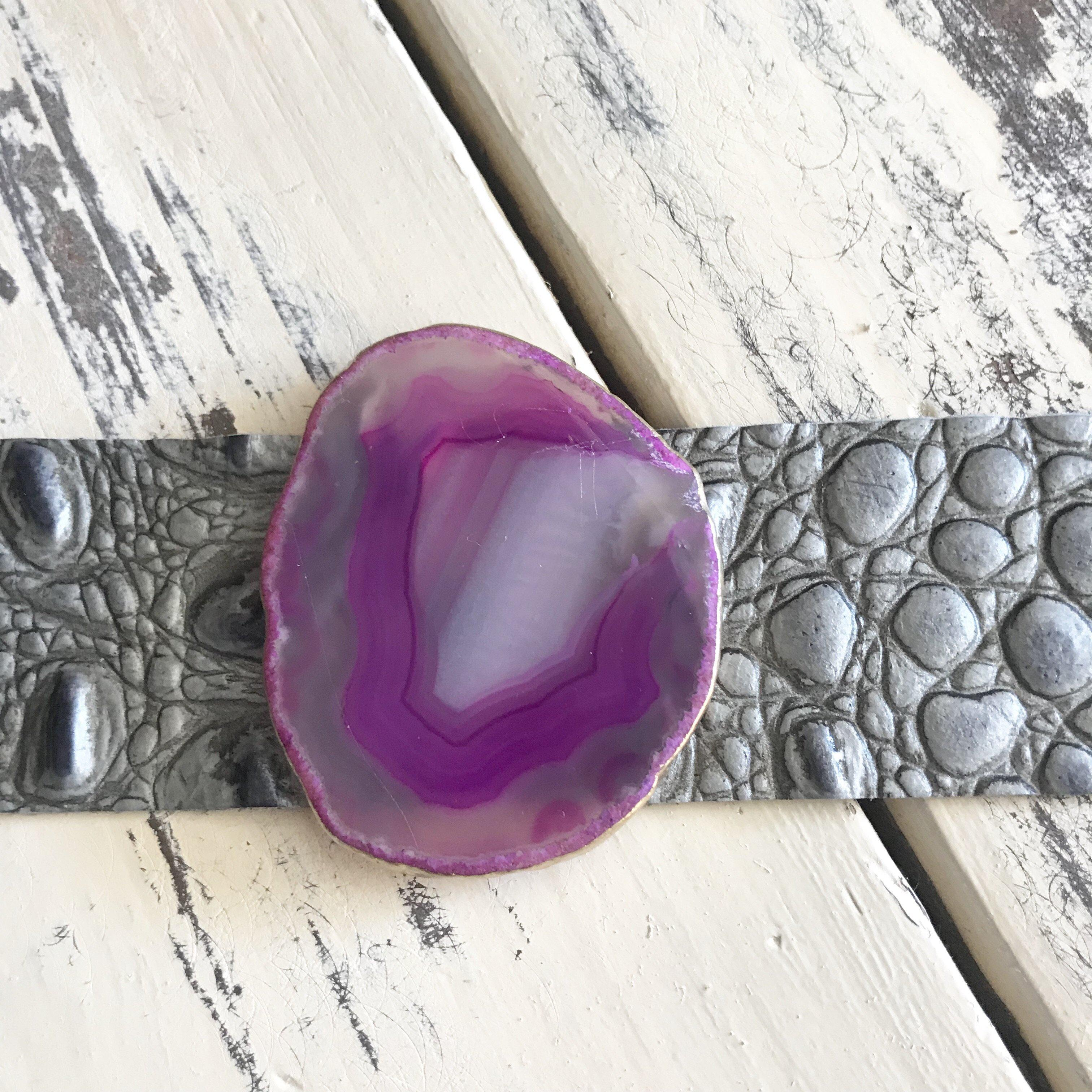 Leather & Agate Bracelet Charcoal Grey