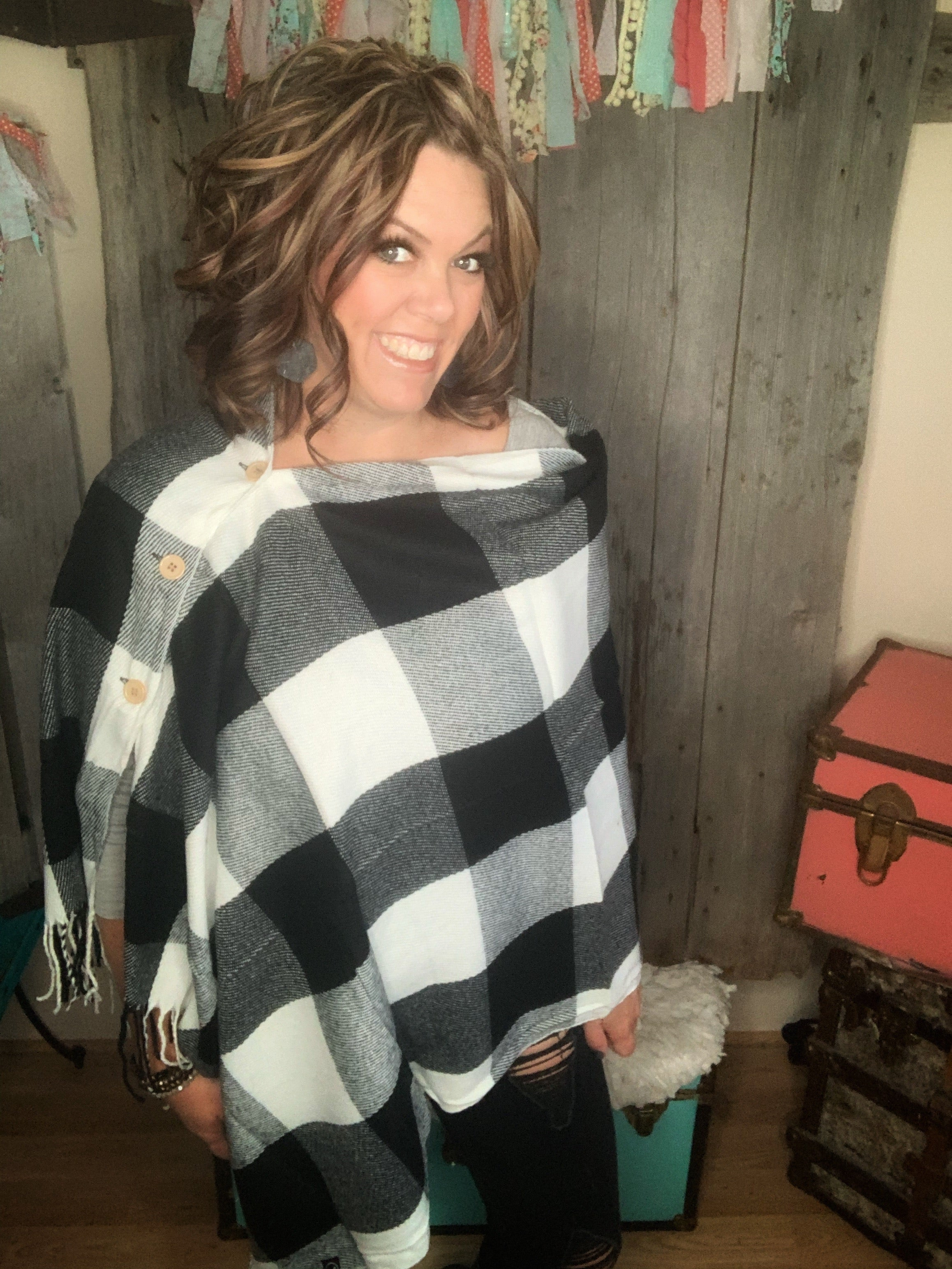 Haylen Button Sweater Buffalo Plaid