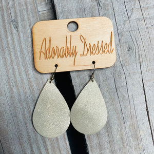 Champagne Shimmer Leather Earrings