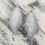Leather Feather Earrings Metallic Silver