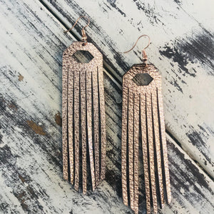 Leather Fringe Earrings Metallic Rose Gold