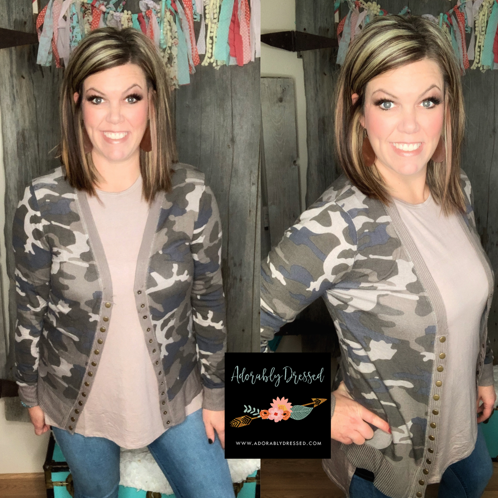 Cora Snap Cardigan Dusty Camo