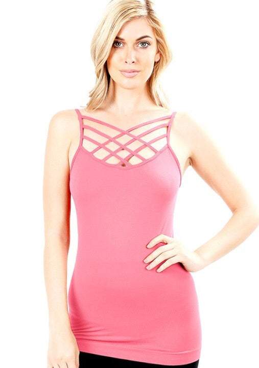 Callie Caged Cami Dusty Rose