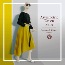 Load image into Gallery viewer, Asymmetric Green Skirt