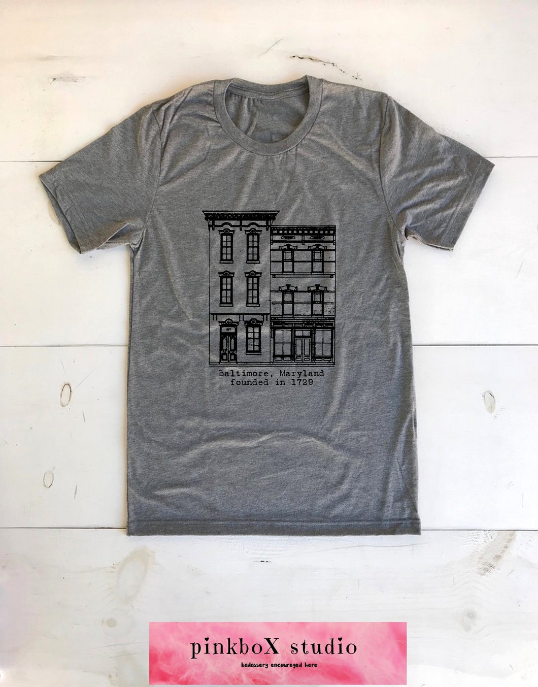 ROWHOUSE Baltimore, MD. printed on Unisex Crew neck triblend Gray T-shirt