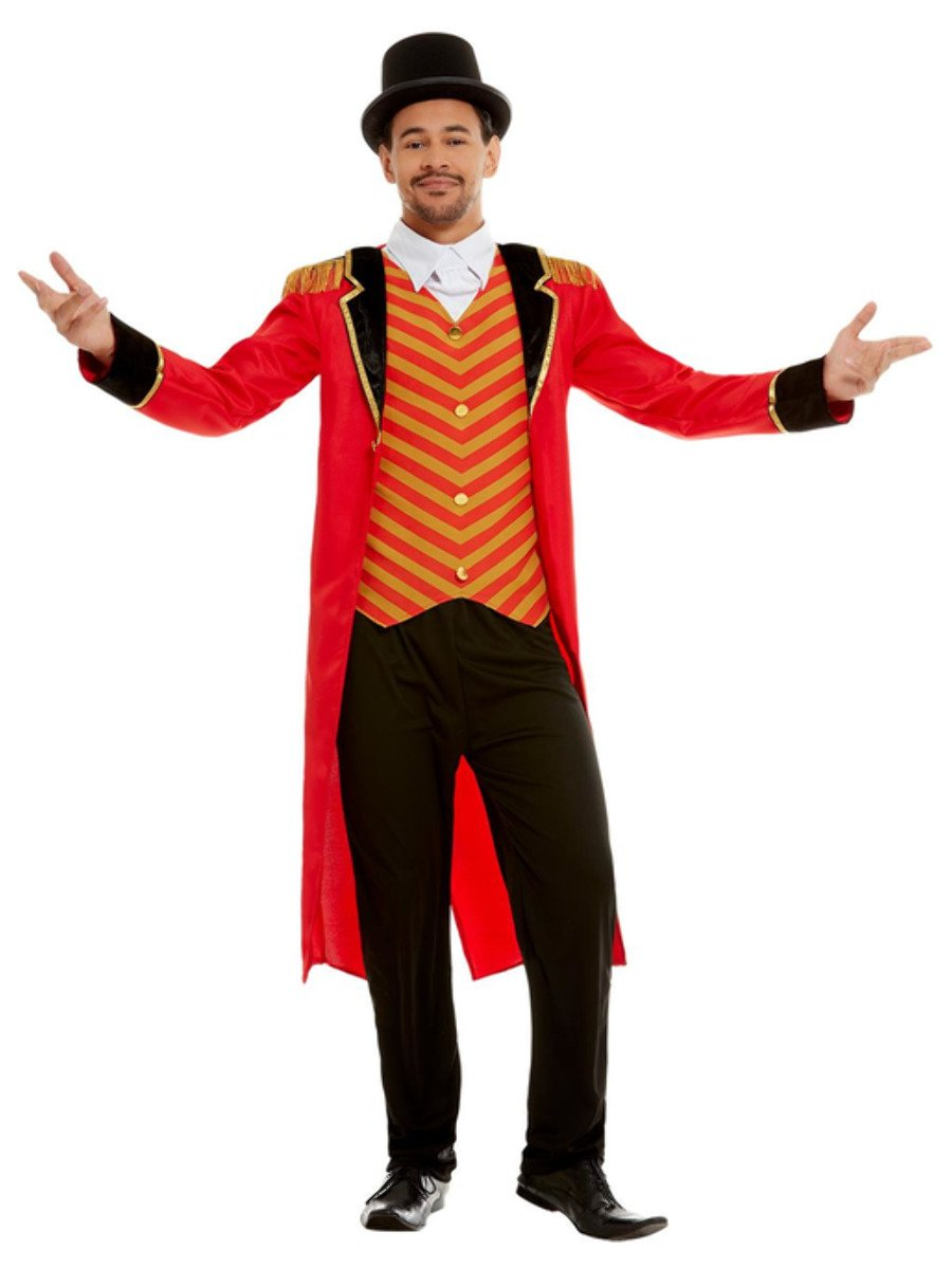 Man wearing a red, gold and black Circus Ringmaster costume.