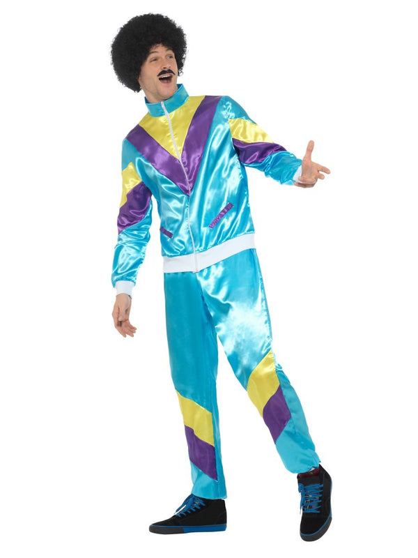 80s Height Of Fashion Shell Suit Costume Blue Smiffys