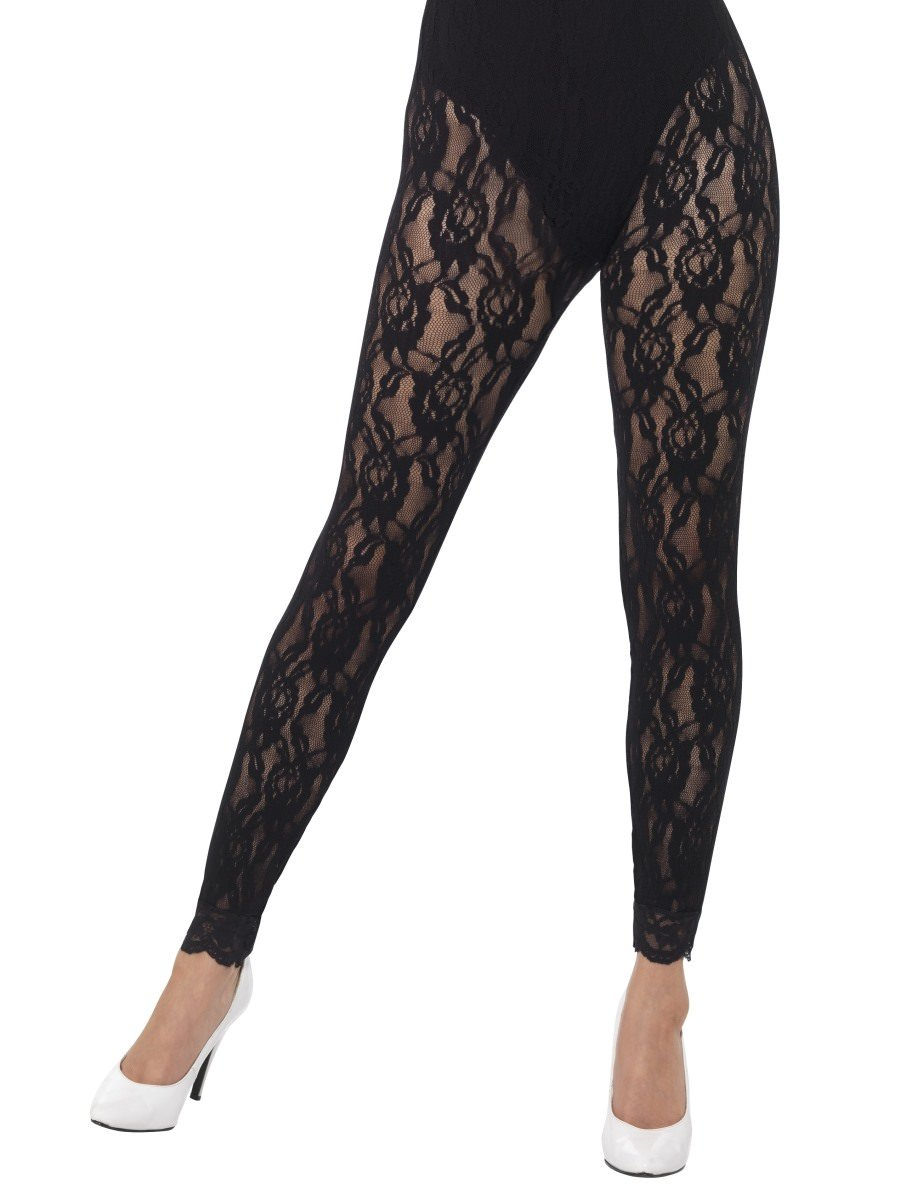 b65cd2a5186f4 80s Lace Leggings, Black | Smiffys