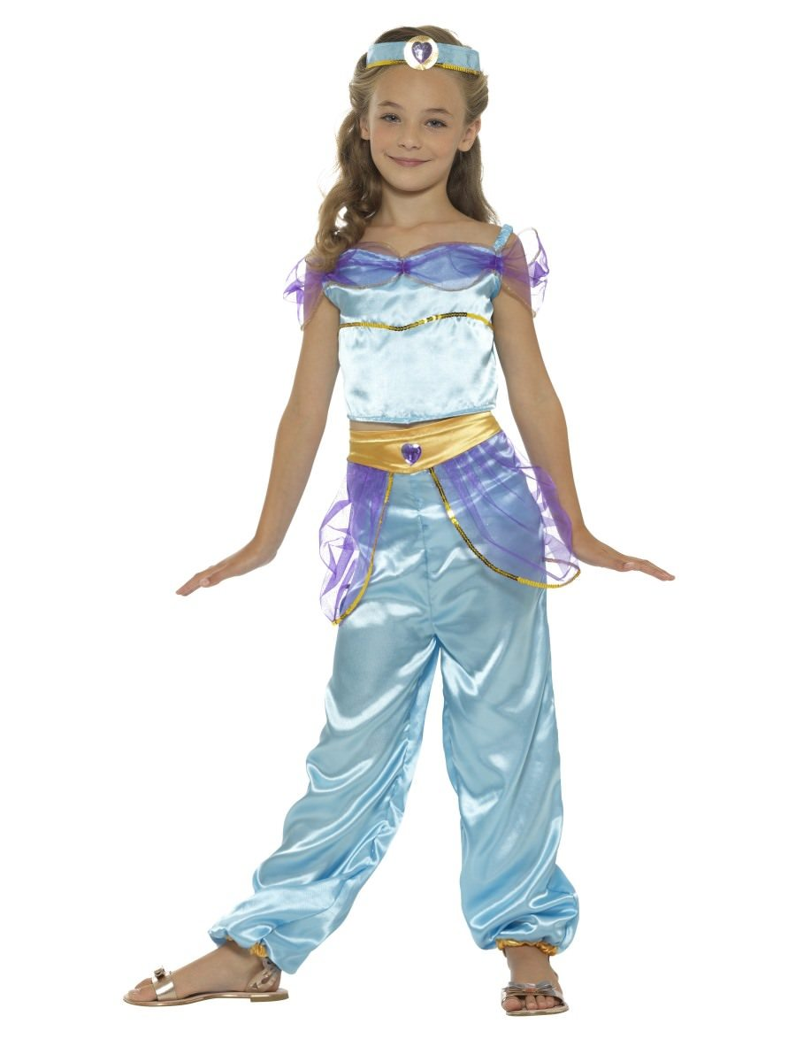 with Trousers Top /& Face Veil Arabian Princess Costume . Purple COST-W NEW