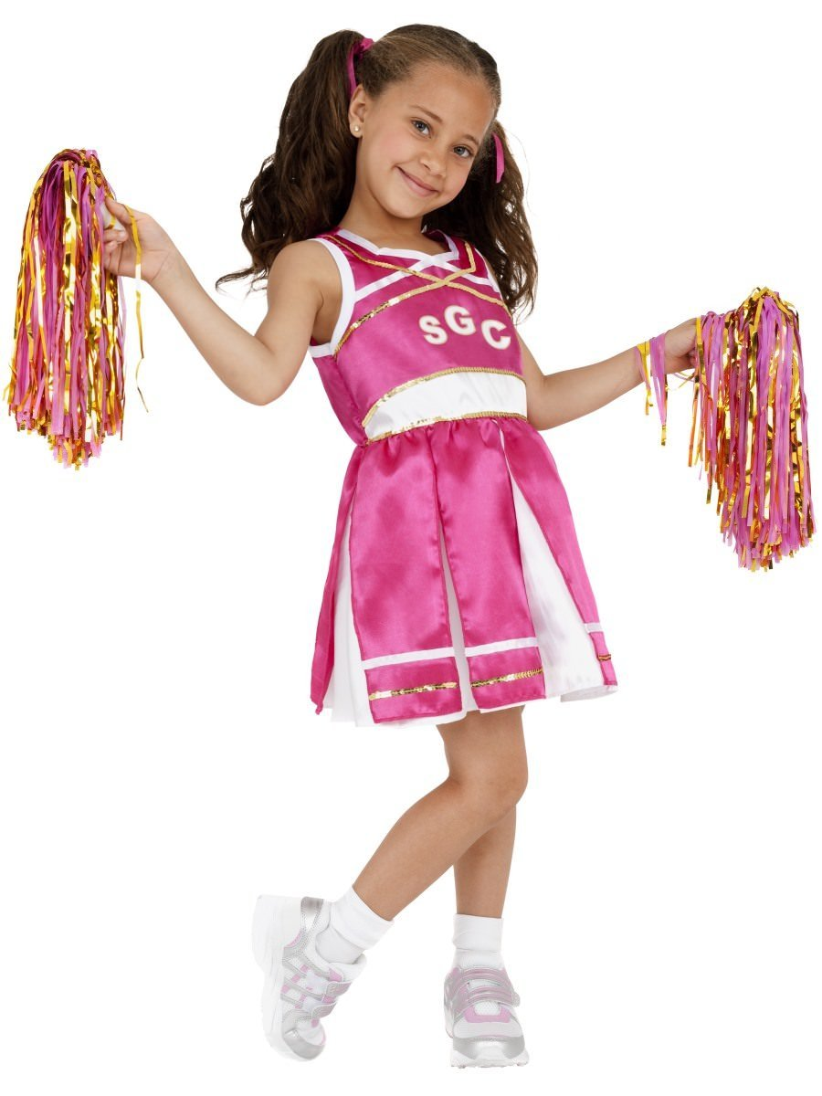 Ladies Cheerleader Fancy Dress Costume Womens Pink Outfit