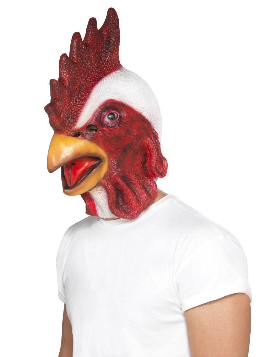 Rooster Adult Over Head Latex Mask Farm Animal Chicken Hen Costume Accessory