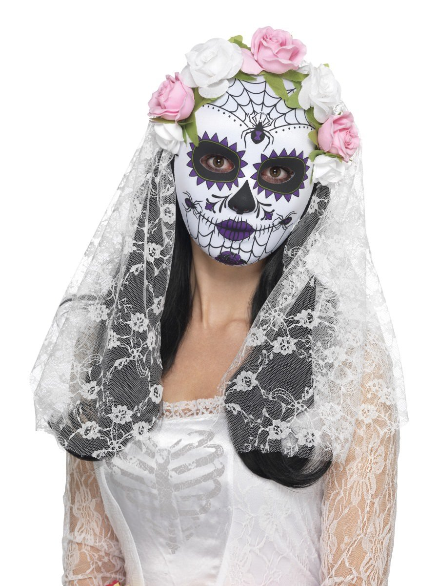 Dead Bride Halloween Costume.Day Of The Dead Bride Mask Full Face