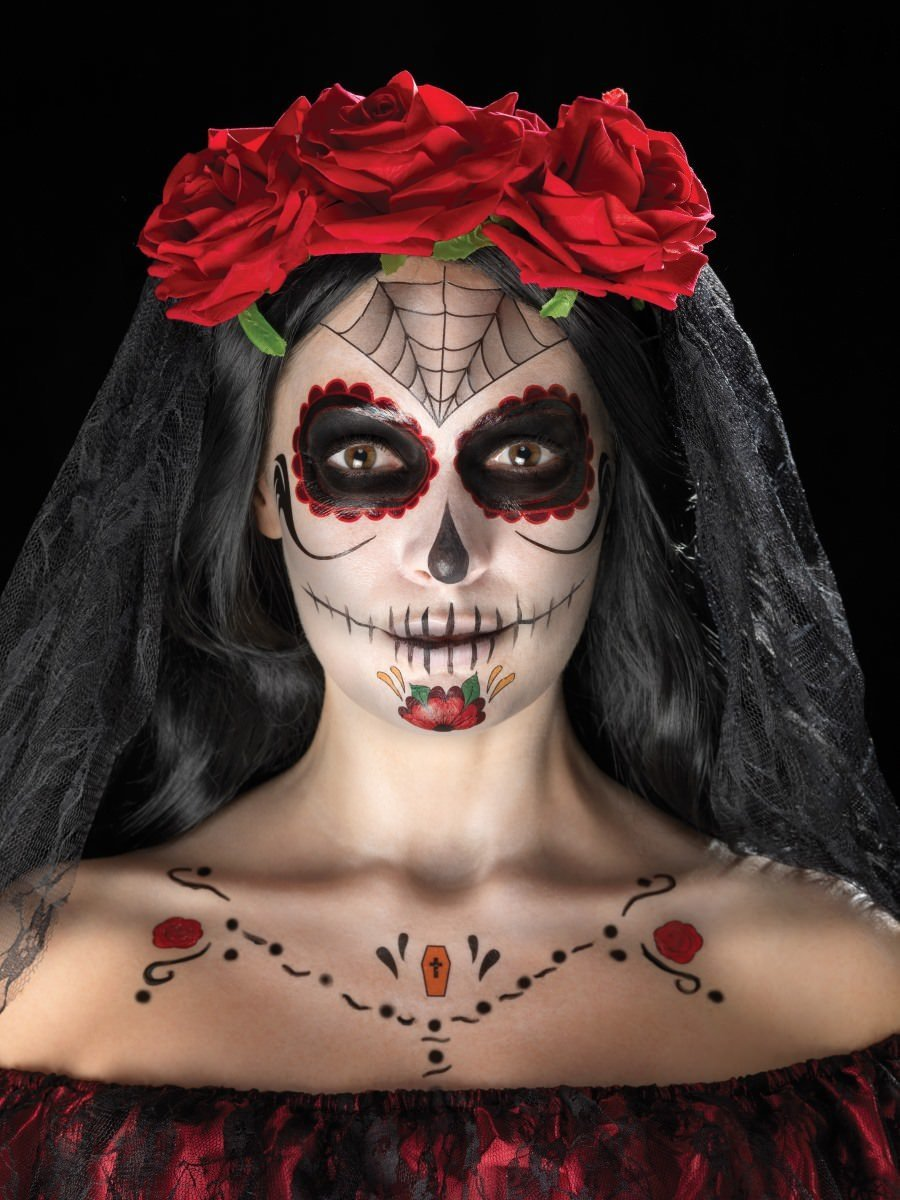 8fe3e7344 Day of the Dead Face Tattoo Transfers Kit, Red & Black
