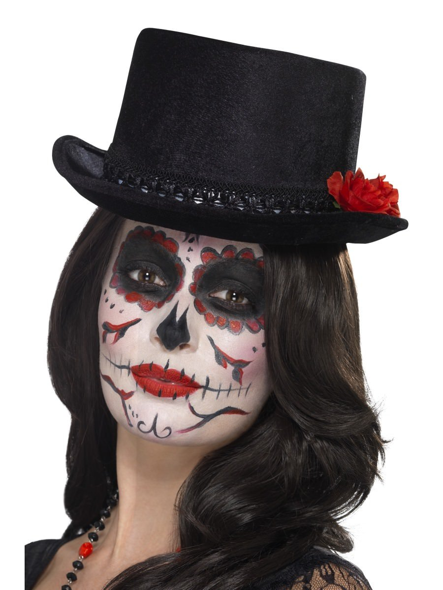 0b6b574df Day of the Dead Top Hat, Black, with Roses