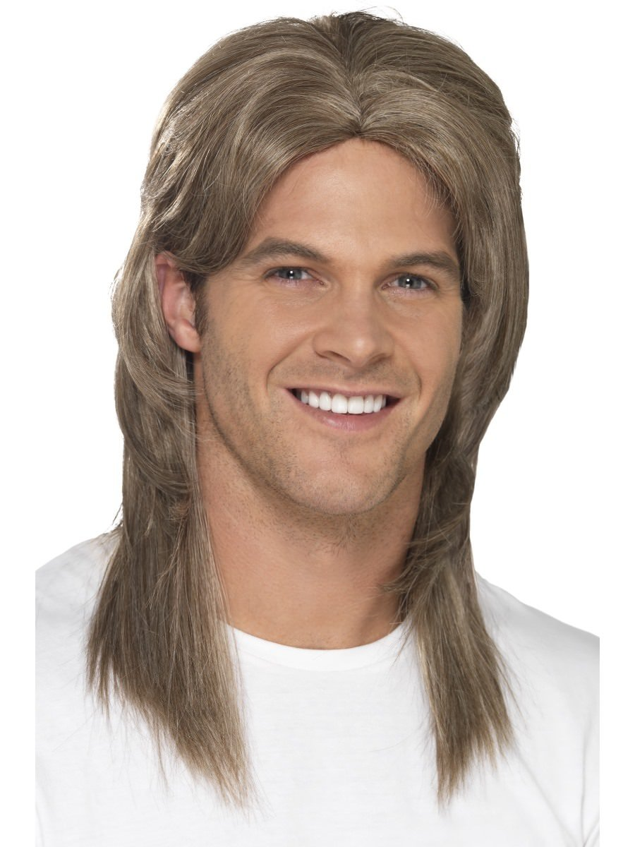Smiffy/'s Men/'s Mullet Wig Highlights Brown One Size