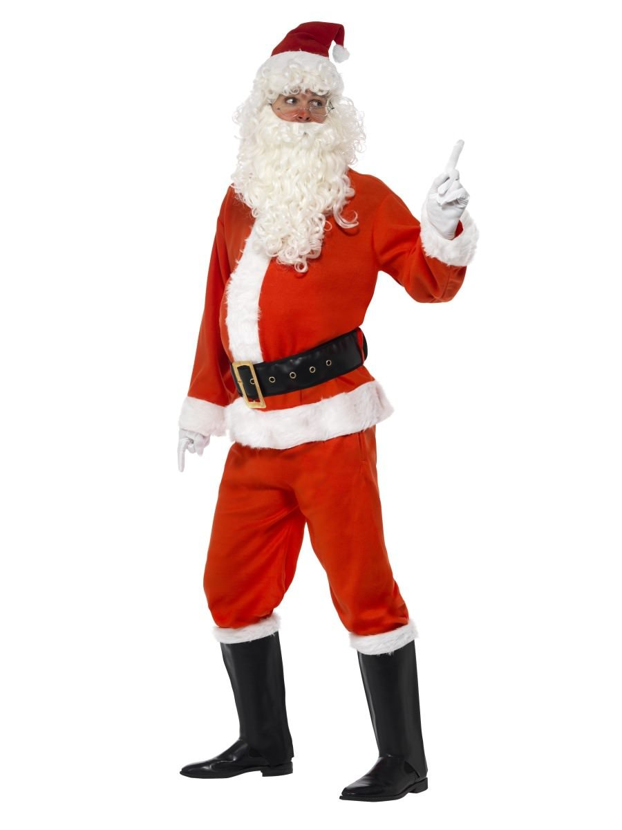 Gloves /& Boot Covers Belt Hat Trousers Smiffys Deluxe Santa Costume Jacket