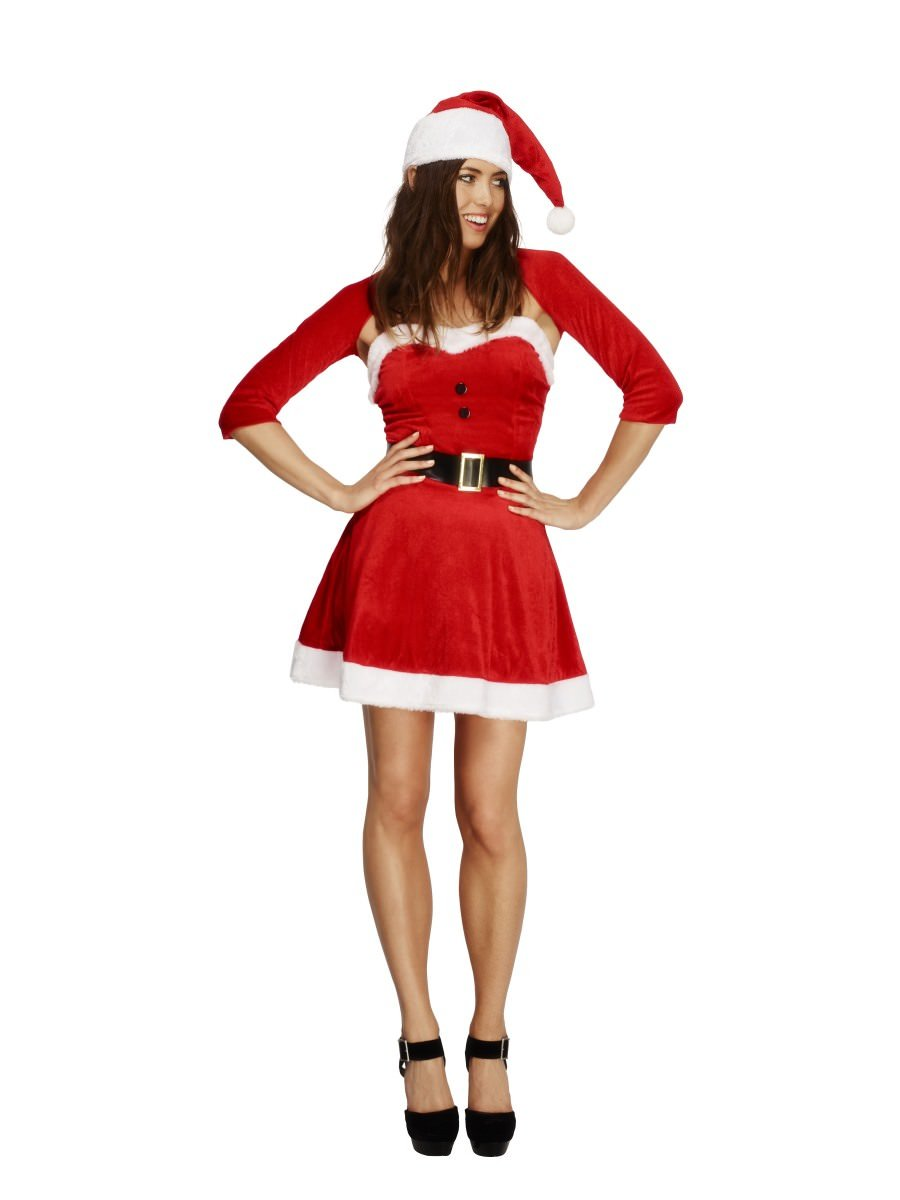 Details about  /Ladies Christmas Santa Babe Fancy Dress Costume /& Shrug Xmas Outfit by Smiffys