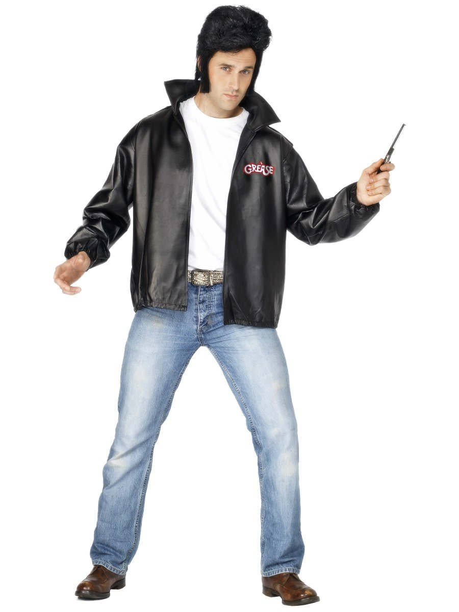 "Black with Embroidered Logo Chest 46/""-48/"" Male Smiffys Grease T-Birds Jacket"