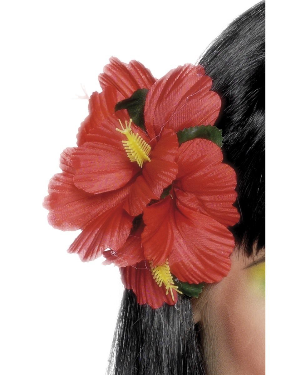 Hawaiian Flower Hair Clip Red Smiffys Smiffys Fancy Dress