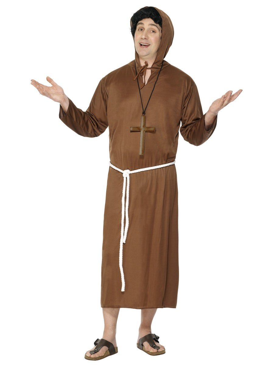 Friar Tuck Costume Monk Robin Hood Fancy Dress+Wig+Cross Religious Robe Medieval