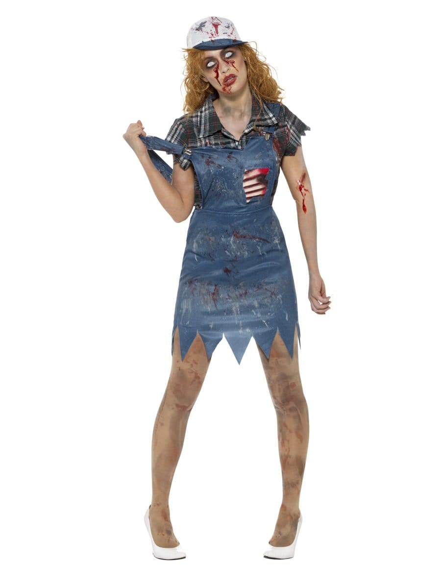 Zombie Hillbilly Costume Halloween Scary Adult Womens Ladies Fancy Dress Outfit
