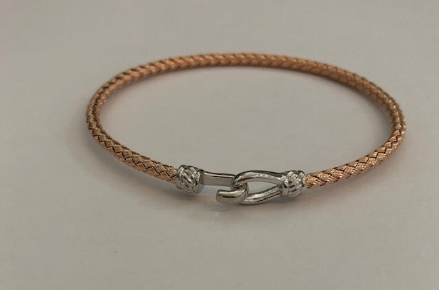 Rose and Silver Italian Hook Bracelet