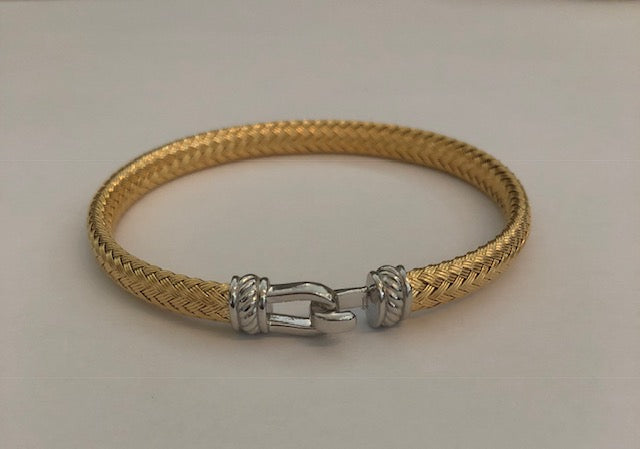 Gold With Silver Wide Italian Hook Bracelet
