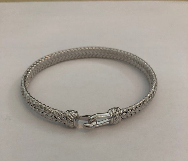 Sterling SIlver wide Italian Hook Bracelet