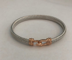 Sterling Silver and Rose Wide Italian Hook Bracelet