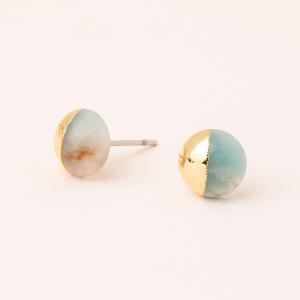 Dipped Stone Stud- Amazonite/Gold