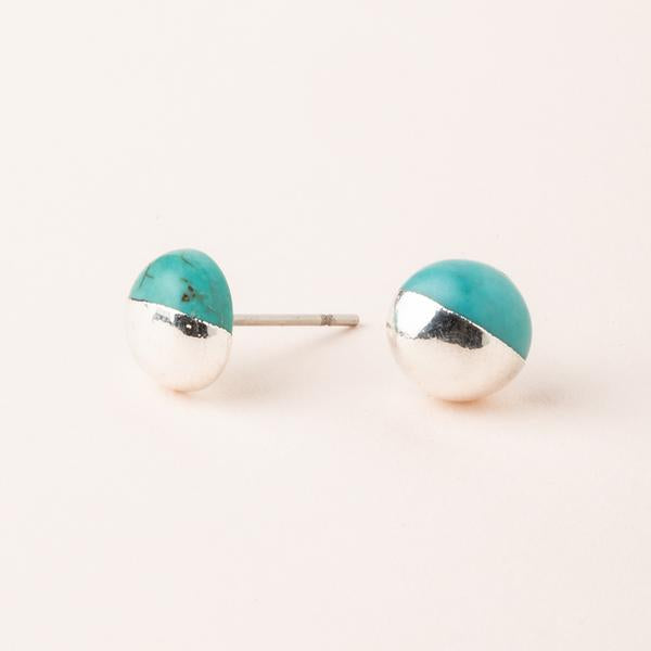 Dipped Stone Stud-Turquoise/Silver