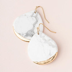 Stone Dipped Teardrop Earring- Howlite/Gold
