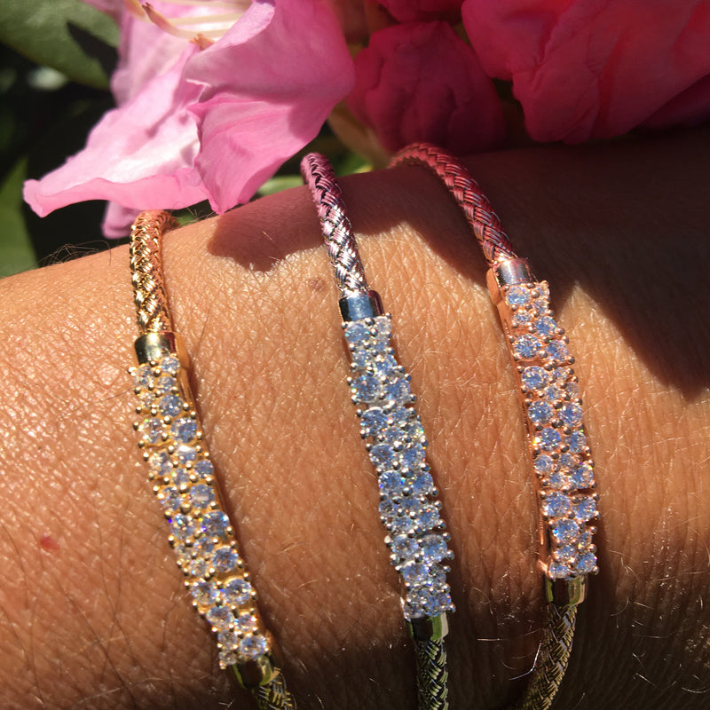 Sterling Silver CZ Cluster Bangle Bracelet