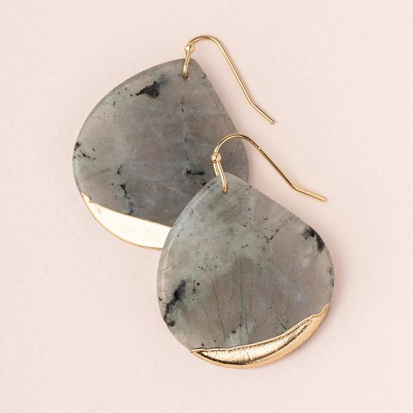 Stone Dipped Teardrop Earring- Labradorite/Gold