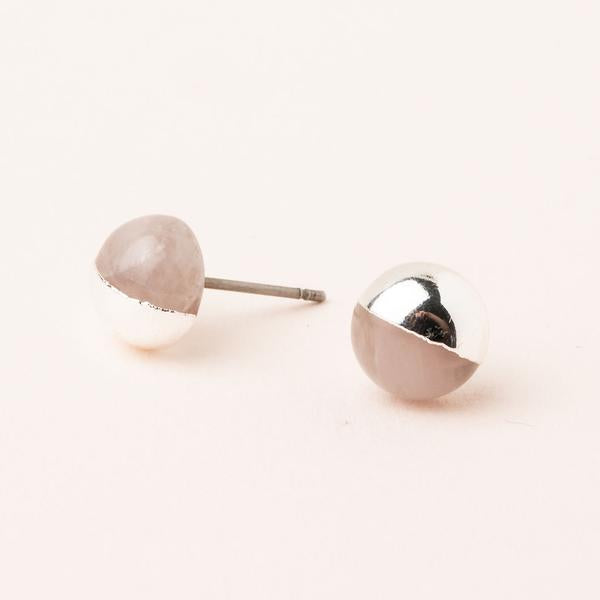 Dipped Stone Stud- Rose Quartz/ Silver